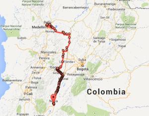 mapa primer día de viaje, san agustin