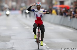 Katusha team rider Lucas Paolini of Italy celebrates winning the Gent-Wevelgem classic cycling race in Wevelgem