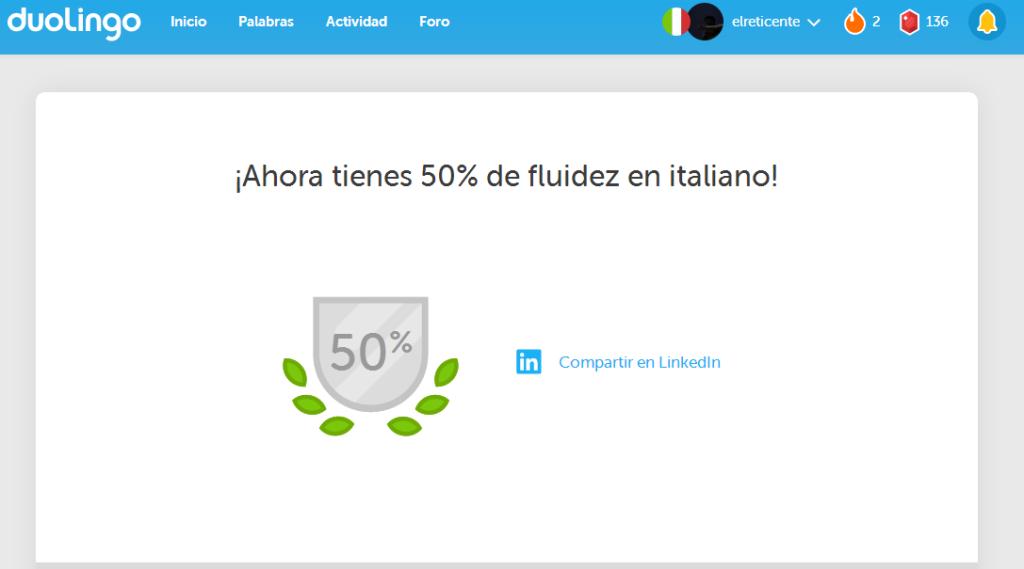 50 de fluidez en Duolingo
